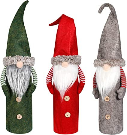 Two Sizes Red and Gray Refrigerator Door Handle Covers with Handmade Plush Tomte Gnomes for Holiday Home Decor 8p Ivenf Christmas Decorations