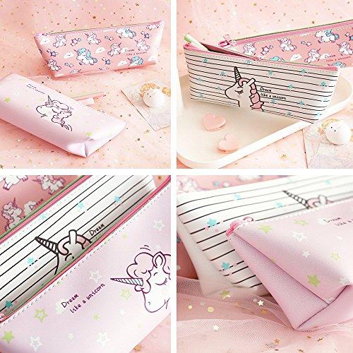 4PackUnicornPencilCase,CutePenPencilPouch,SchoolPencilBagforGirls,UnicornPenBoxHolder by Leyaron (Image #5)'