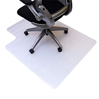 Resilia Office Desk Chair Mat with Lip – PVC Mat for Hard Floor Protection, Clear, 45 Inches x 53 Inches, Made in The USA