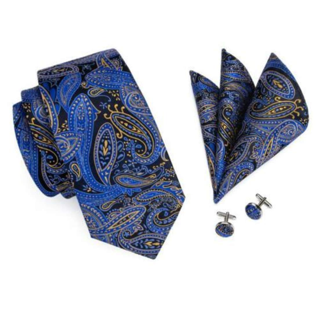 Irvint /& Co Blue Black Paisley Silk USA Necktie With Pocket Square And Cufflinks Set Bussiness Wedding Yellow