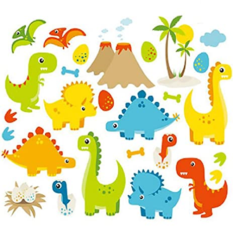 Amazon.com: Dino Friends Dinosaurs Vinyl Wall Decals Kids Boys ...