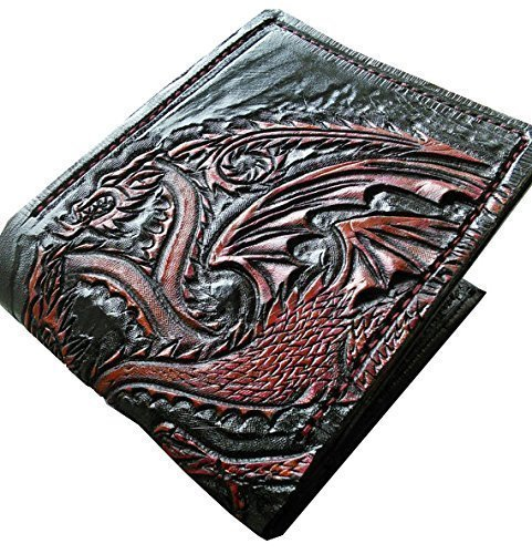 c1c52364f4 Black and red Dragon Leather Wallet  Amazon.co.uk  Handmade