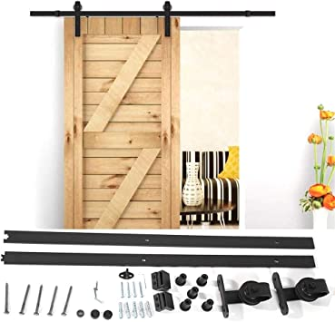 183cm Herraje para Puerta Corredera Riel Rueda para Puertas de Madera Granero Puerta Hardware Kit: Amazon.es: Bricolaje y herramientas