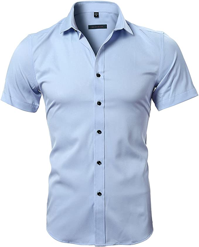 Camisa Bambú Fibra Hombre, Manga Corta, Slim Fit, Camiseta Elástica Casual/Formal para Hombre, Celeste, 39 (Hombro 45CM, Pecho 100CM): Amazon.es: Ropa y accesorios