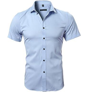 5d3071ea3f7 Harrms Mens No Iron Slim Fit Dress Shirts Bamboo Fiber Short Sleeves  Elastic Button Down Dress