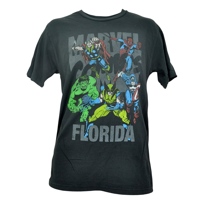 Official Disney Mens Florida Marvel Comics Vintage Super Heroes Tshirt Tee