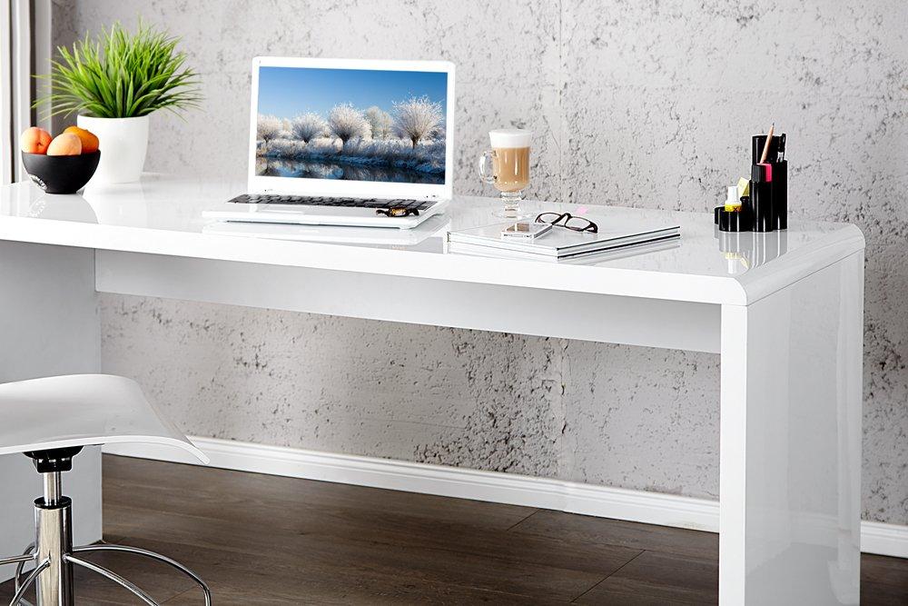 Schreibtisch weiß hochglanz 140  Invicta Interior 15806 Fast Trade Schreibtisch hochglanz 120 cm ...