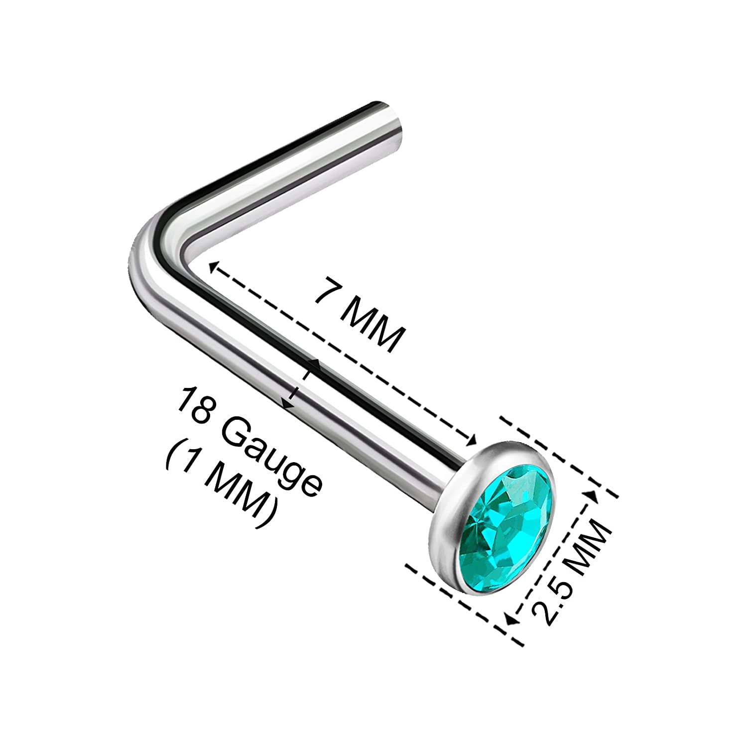 BanaVega 2PCS Surgical Steel L Shaped Nose Ring 18g 1mm 7mm Flesh Nostril Screw Crystal Stud Piercing Jewelry See More Colors UK/_B0772PZY3F