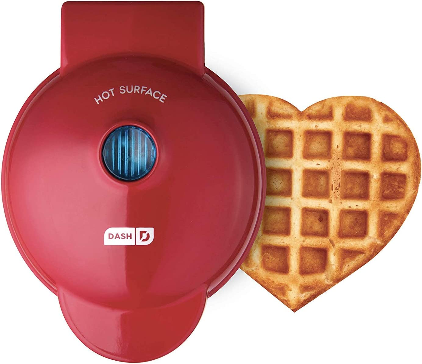 Dash DMW001HR Mini Maker Machine Shaped Individual Waffles, Other On The Go Breakfast, Lunch, or Snacks, Heart Red