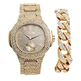 Bling-ed Out Cuban Bracelet with Matching Oblong Bling-ed Out Hip Hop Watch - Luxury Fashion Accessories - 8475B Cuban Gold