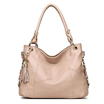 ee9e3ed6b589 Amazon.com: LAOMAUTO Leather Top Handle Satchel Handbag Tote Tassel ...