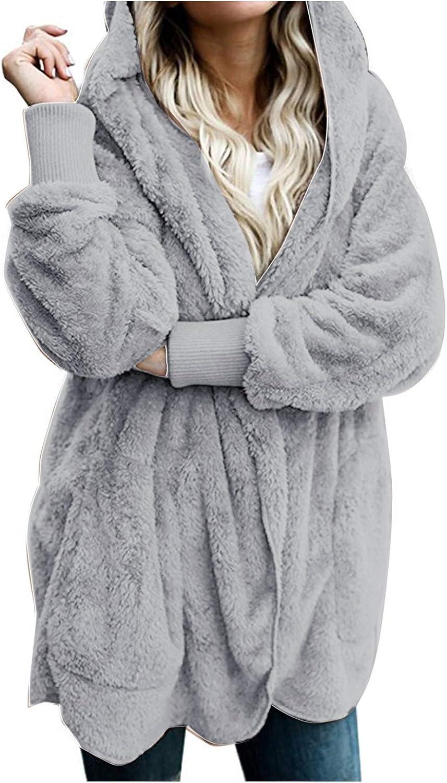 Women Hooded Cardigan Fuzzy Jacket Winter Open Front Fleece Coat Outwear with Pockets