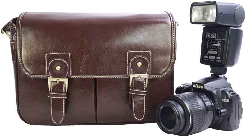 Khaki//S with Removable liner Shoulder Bag Messenger Bag Outdoor Portable Photography Bag Video Bag Pouch for Travelling Hiking Camping Cuitan Multi-function PU Leather SLR DSLR Camera Bag