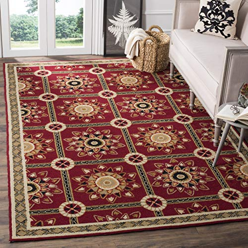 Safavieh Easy to Care Collection EZC711A Hand-Hooked Red and Natural Area Rug 3 x 5