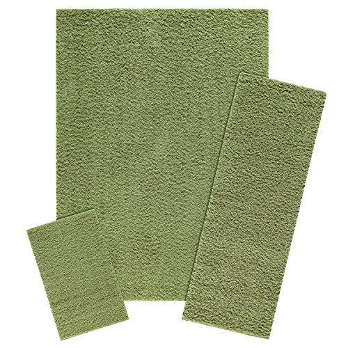 - Area Rugs Sets, Maples Rugs [Made in USA][Catriona] 3 Piece Set Non Slip Padded Large Runner & Rug for Living Room, Kitchen, & Bedroom - Moss Green