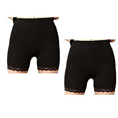 Liang Rou des Femmes Spandex Leggings Courts Bordure en Dentelle 2-Pack  Couleur Noir XS 1af73ffb764