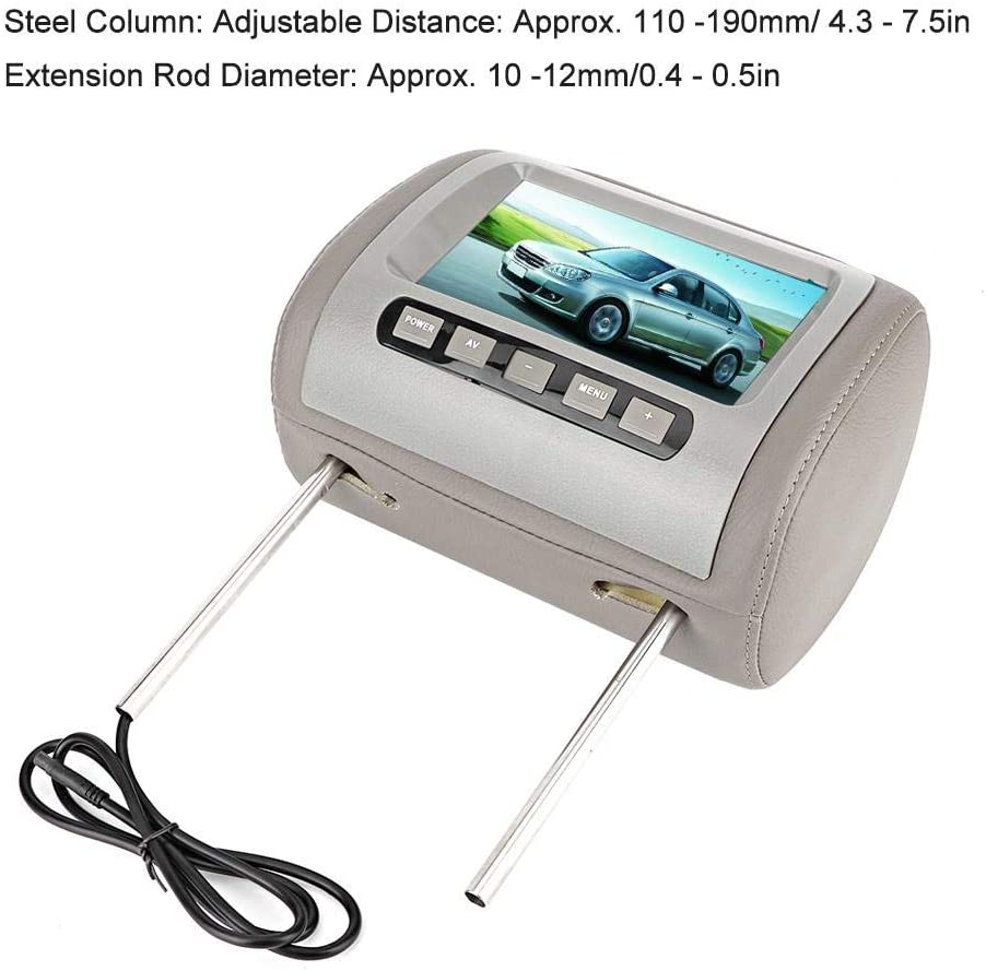 Car Video Player,2pcs 7 in HD Car Wide Screen Headrest LCD Video Player Wireless Remote Control MP5 Display Car MP5 Player Gray