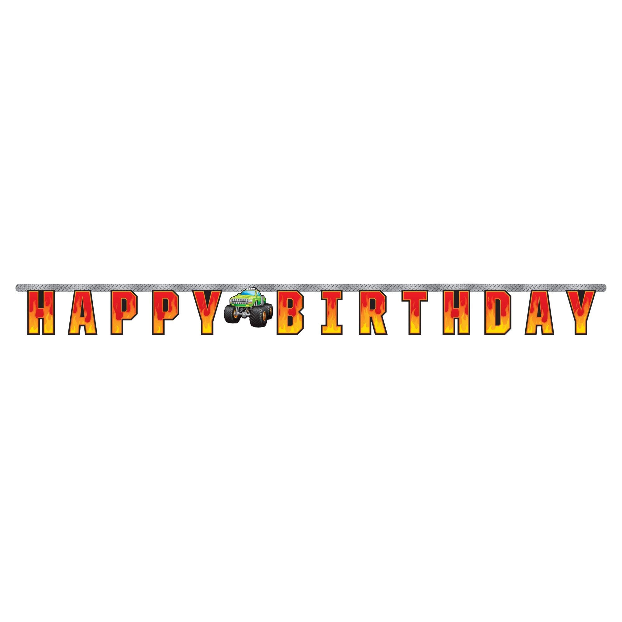 Club Pack of 12 Orange and Yellow Happy Birthday Printed Monster Truck Rally Banner 81''