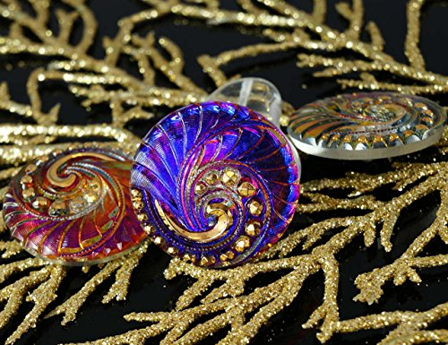 Dichroic Glass Buttons - 1pc Handmade Czech Glass Button Large Gold Spiral Dichroic Vitrail Purple Size 12, 27mm