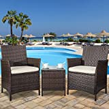 Merax 3 Piece Cushioned Patio PE Rattan Furniture Set Outdoor Garden Wicker Set with Beige Cushions (Brown)