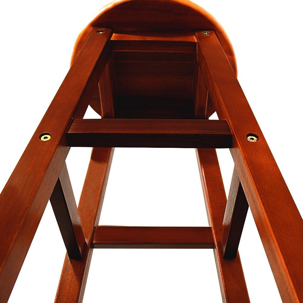 2x Sgabelli Legno di Acacia Marrone Sgabelli alti Sedie per Bar Pub Cucine Stile industriale rustico e contemporaneo