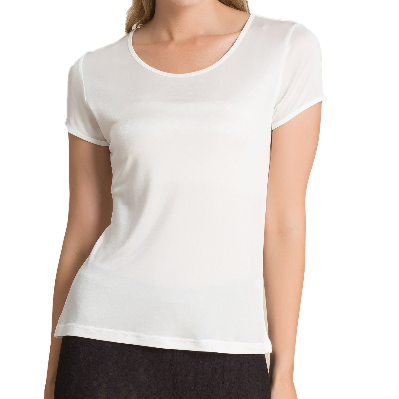 Paradise Silk Pure Silk Knitted Women's Round Neck Short Sleeve Tee Large White