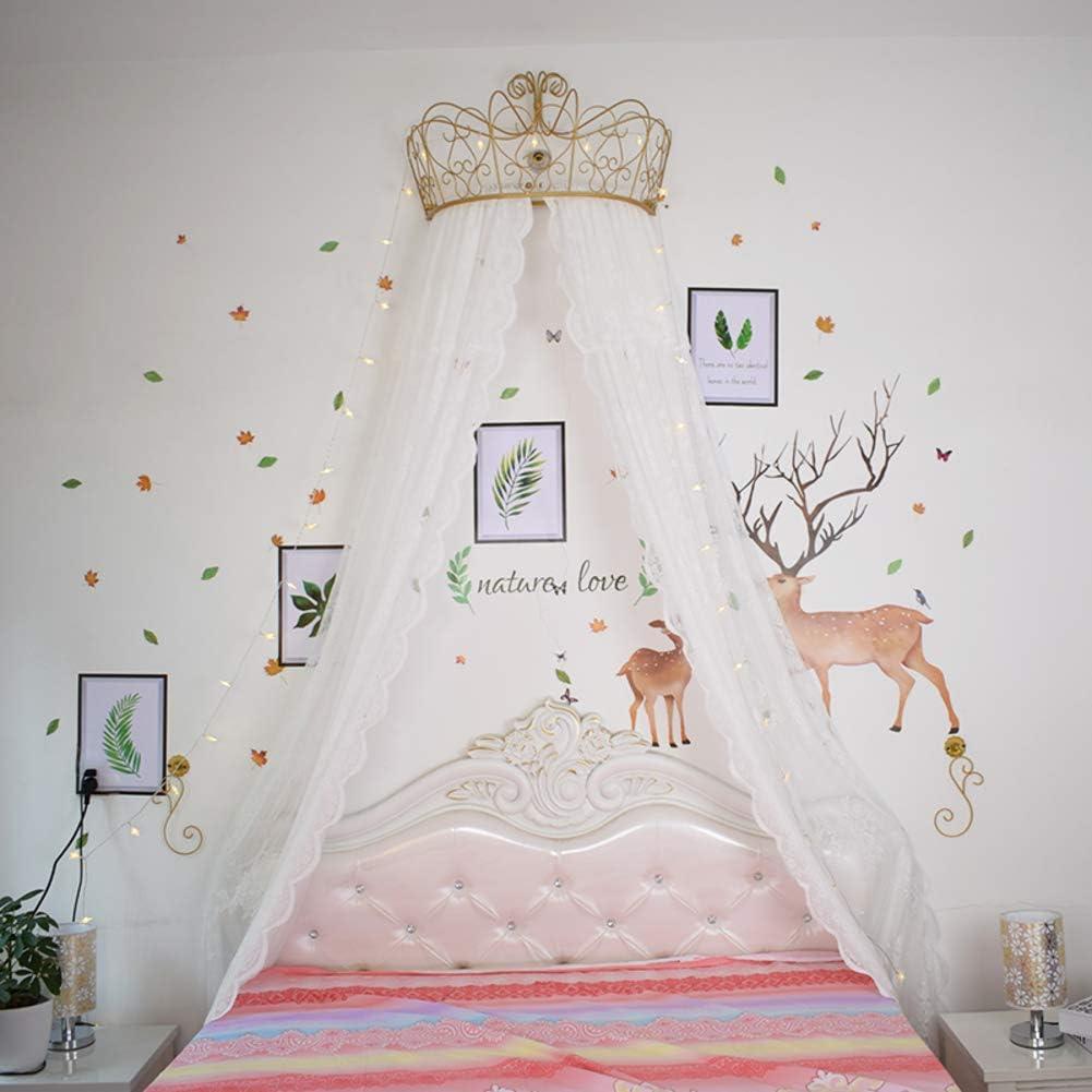 GE/&YOBBY Ciel De Lit Princesse,Blanc Dentelle Rideau De Lit Chiffon Draperie D/écorative Couronne en M/étal avec des Lumi/ères D/étoiles pour La Chambre /à Coucher De Filles-Blanc 1.8m