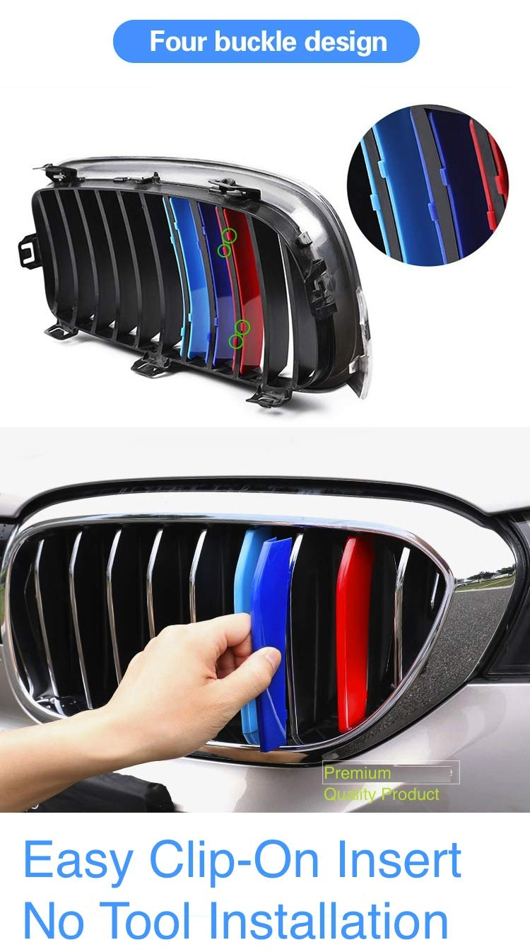 compatible with B M W 5 Series F10 F11 2013-2016 10 BARS Bonnet Hood Radiator Grill Stripes Slat Covers Inserts Trim Clips M Power Sport Performance Tech Paket Colour Grilles Badge