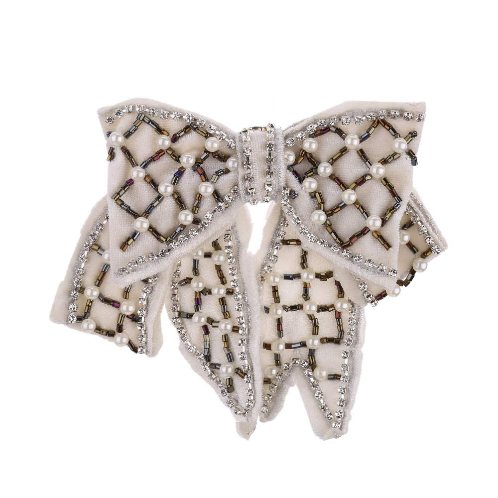 Aclth Ladies Bowknot Bow Neck Tie Fashion Women Pre-Tied Neck Tie Rhinestone Crystal Pearl Brooches Pin Clip Ribbon Wedding Party for Ladies Girls (Color : Blue)