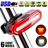 USB Rechargeable Bike Tail Light Safety Warning Flashing Lamp Alarm Light 6 Mode Waterproof High Intensity LED Front Light Easy To install for Cycling Safety Flashlight (Red-white) For Sale