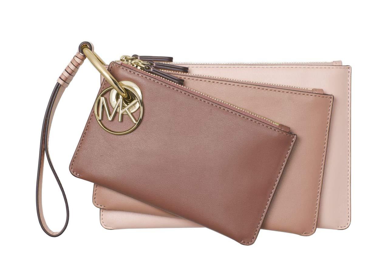 Michael Kors Tri-Color Leather Pouch Trio Clutch Wristlet (Soft Pink/FN/DSRS)