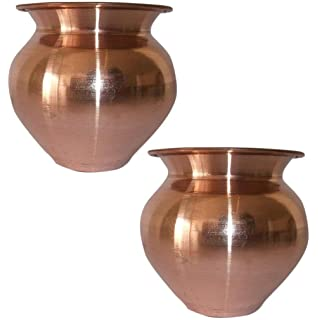 SHIV SHAKTI ARTS 3.5 * 3.25 * 3.5 in Handmade 100% Pure Copper Pot Volume 300 ML Set of 2 Small Copper Pooja Kalash for Yoga Surya Namskar Storage Water Indian Yoga Ayurveda for Good Health