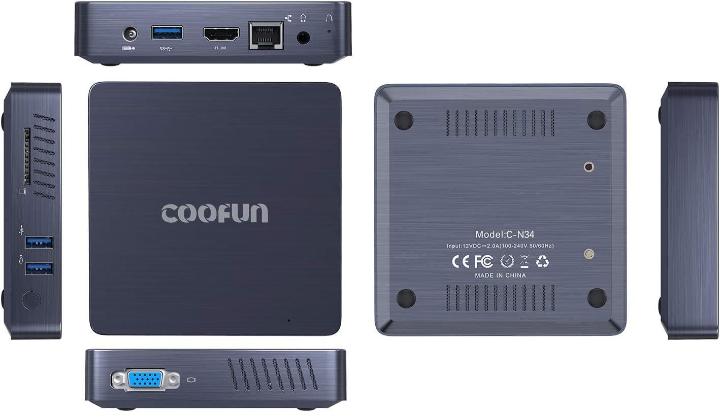 Fanless Mini PC Quad-Core Intel Celeron N3450 Processor 4G DDR4//eMMC 64GB Desktop Mini Computer Support Windows 10 Pro HDMI//VGA Dual Display//Dual WiFi//USB 3.0//BT4.2//DIY M.2 NGFF 2242 SSD