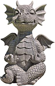 Badukongjian Resin Dragon Statue, Whimsical Garden Dragon Making Weird face, Zen Yoga Dragon Family Garden Decoration, Cute Baby Dragon Fake Stone Resin Finish Figurine Dungeon