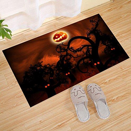 FANNEE Happy Halloween Pumpkin Evil Smiley Small Doormat, Durable Rubber Doormat, Low Profile Waterproof, Non-Slip, Easy to Clean, Washable Indoor/Outdoor Mat, for Entrance]()