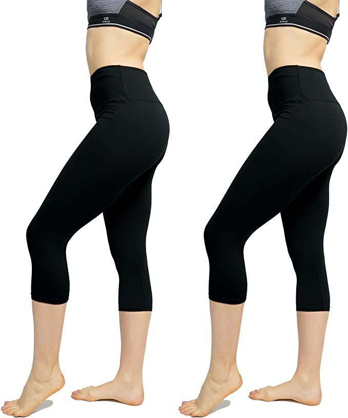 Womens High Waist Leggings 2 Pack - Yoga Pants Tummy Control Slimming Booty Leggings Workout Running Butt Lift Tights