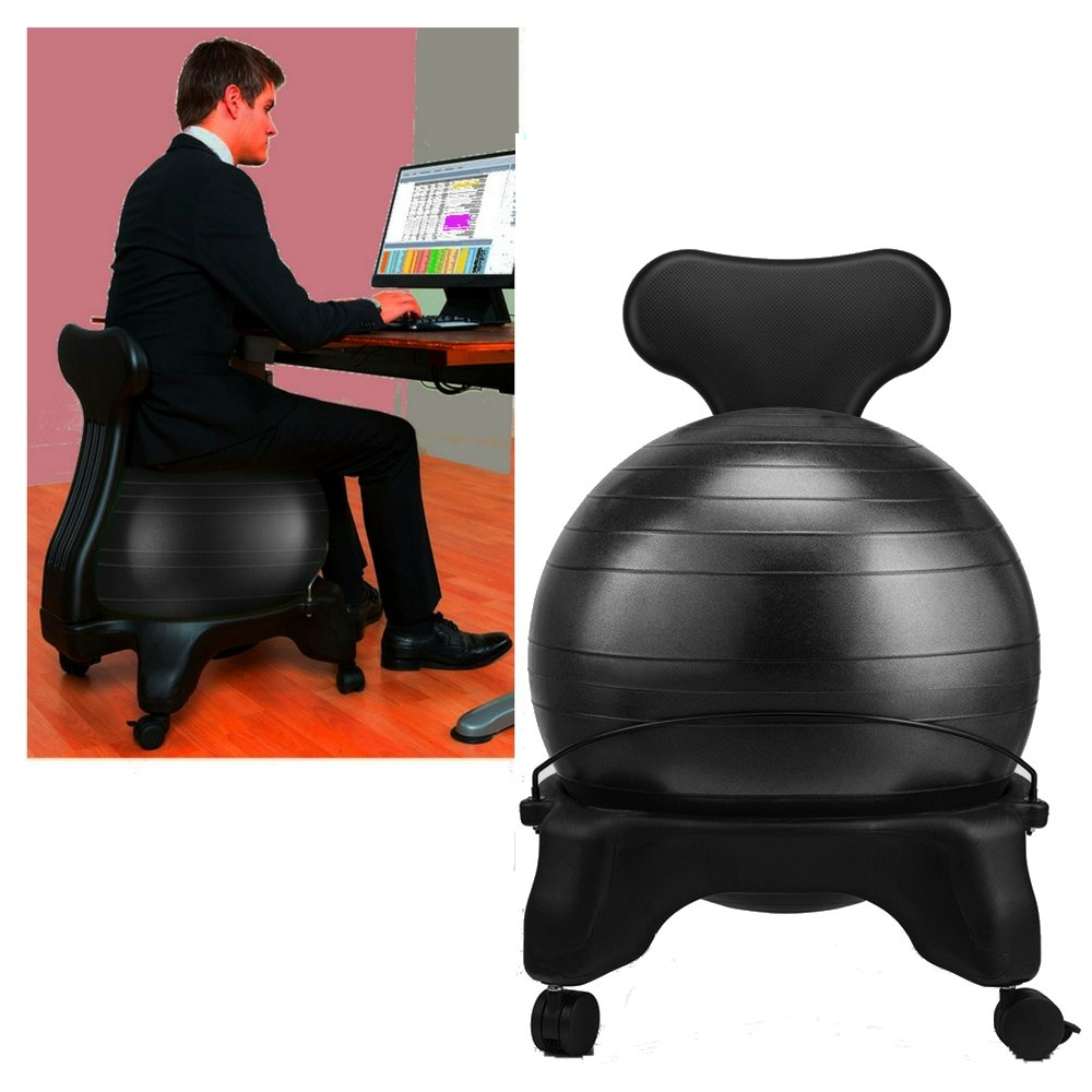 Stress Ball Chair Black Balance Stability Rolling Yoga Inflatable Exercise Fitness Round Sports Bouncy Large Heavy Duty Big Ball Office Chair eBook by Easy&FunDeals
