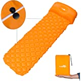 X-Lounger Inflatable Mat Pad with Pillow and Unique Buckle Design Lightweight Folding Camping Air Mattress Compatible with Hammock and Tent Sleeping Bag for Outdoor Backpacking Hiking