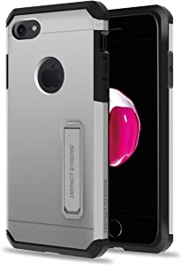 iPhone 7/8 Case, ImpactStrong Heavy Duty Dual Layer Protection Cover with Metal Kickstand Heavy Duty Case for Apple iPhone 7/8 (K-Silver)