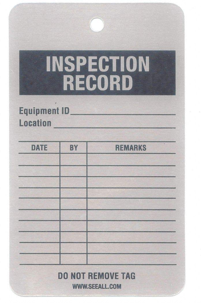 Inspection Rcd Tag, 5 x 3 In, Al, PK25