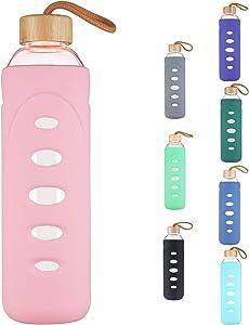 DEARRAY Botella de Agua de Cristal de Borosilicato Deportivo 400ml / 750ml / 1000ml / 1 Litro, Botella de Agua de Vidrio con Funda de Silicona y Tapa de Bambú Único