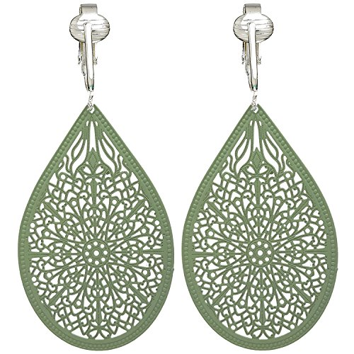 Lovely Victorian Filigree Clip On Earrings for Women & Girls Clip-ons, Lightweight Teardrop Leaf Dangle (Green) by Clip Earring Shop