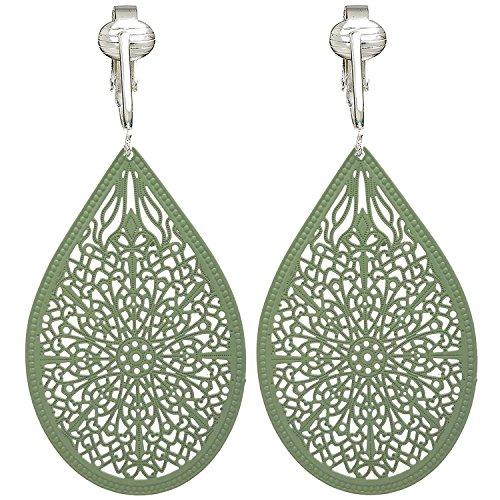 Lovely Victorian Filigree Clip On Earrings for Women & Girls Clip-ons, Lightweight Teardrop Leaf Dangle (Green Enamel Clip)