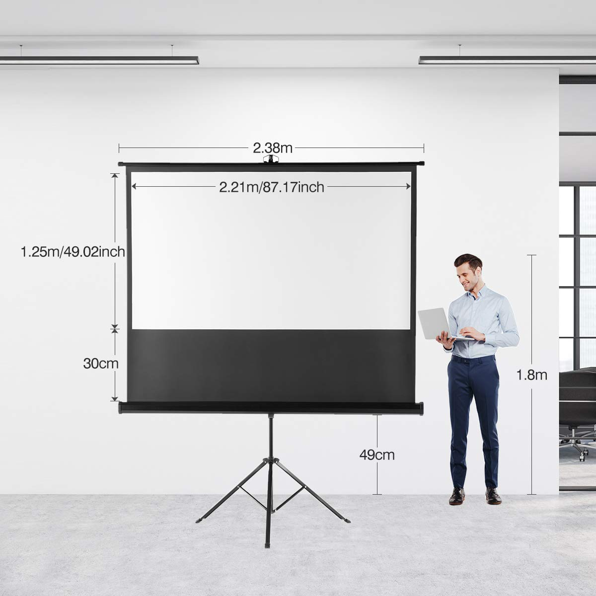 Projector Screen with Stand Excelvan 100 inch Projector Screen Tripod 203cm x152cm Diagonal 16:9 Outdoor Projector Screen Pull Down for HD 4K 8K Home Theater Indoor Outdoor Movie Screen