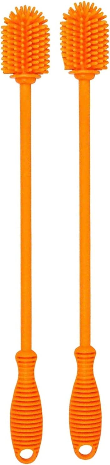 Moligh doll Brosse de Bouteille de Silicone avec la Poign/éE,Brosse de Nettoyage de Silicone de 15 Pouces pour la Bouteille DEau,Biberons,Bouteilles de Sport Sous Vide,Vase Paquet de 2