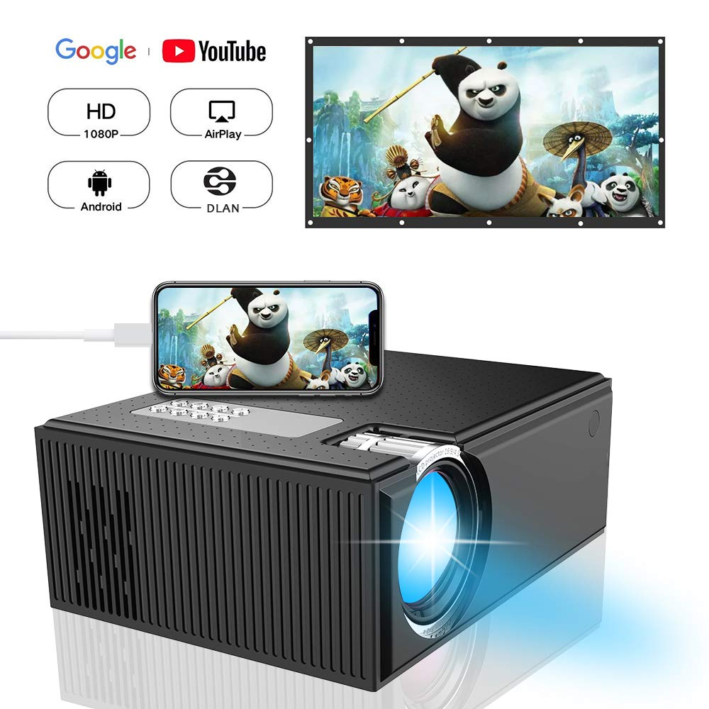 Mini Projector,ifmeyasi Home Theater Video Portable Projector with 1080P Supported, for Home Cinema Theater,Computer,TV,Laptop,Gaming,SD,DLAN,Android Smartphone