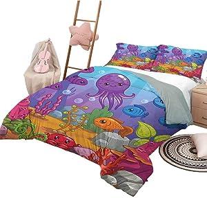 Whale Bedding Sets California King, Quilt 3 Piece Bedding Set Underwater World Aquarium Cartoon Octopus Reef Seaweed Stones Bubbles Illustration Printed Bedding Multicolor