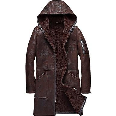 e5c209760563 Denny Dora Hooded Mens Shearling Coat Mens Fur Coat Long Style Business  Casual Sheepskin Leather Jacket at Amazon Men s Clothing store
