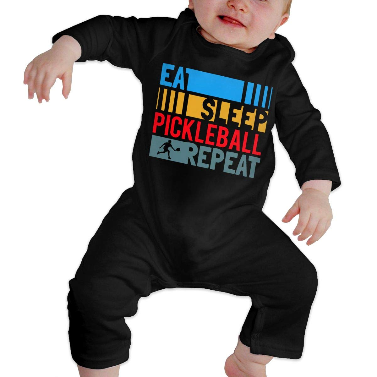 UGFGF-S3 Eat Sleep Pickleball Repeat Baby Boy Long Sleeve Romper Jumpsuit Jumpsuit