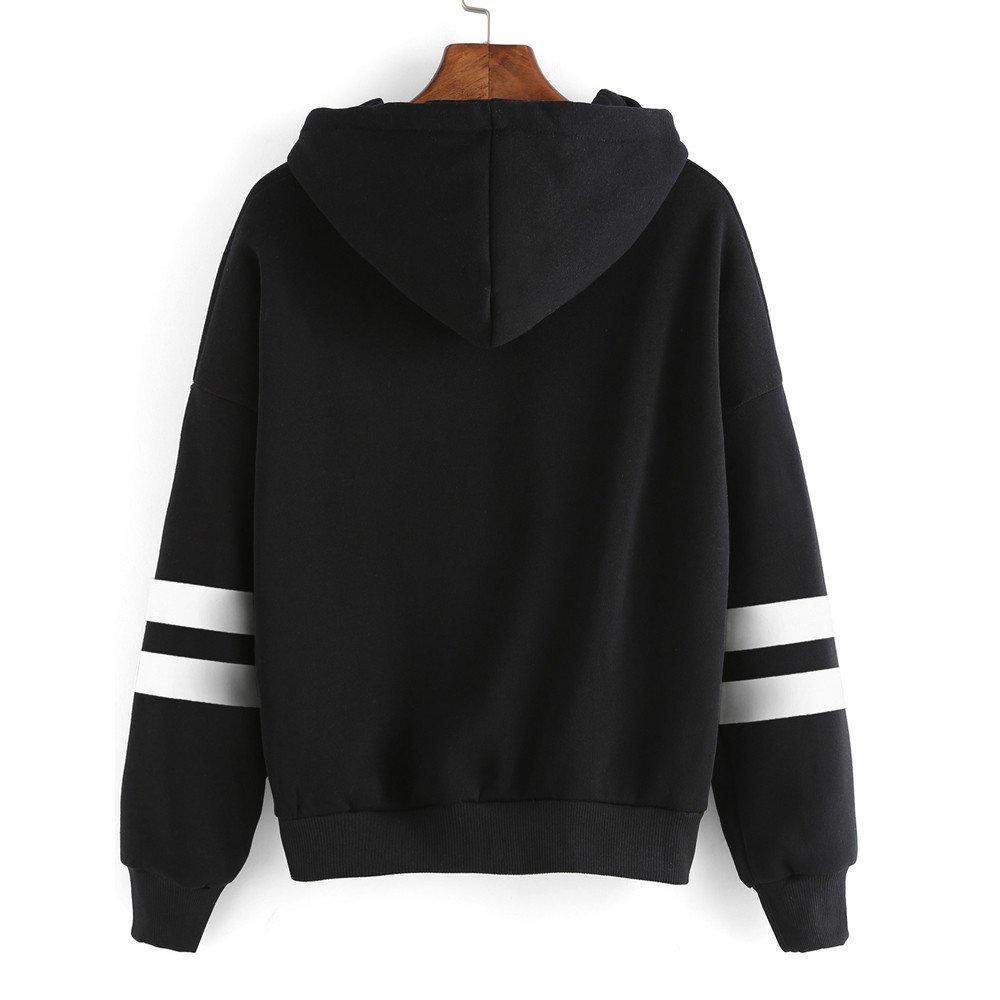 Women Printed Hoodie Sweatshirt Crop Top Lady Patchwork Long Sleeve Shirt Jumper Pullover Tops Blouse (S, Black)